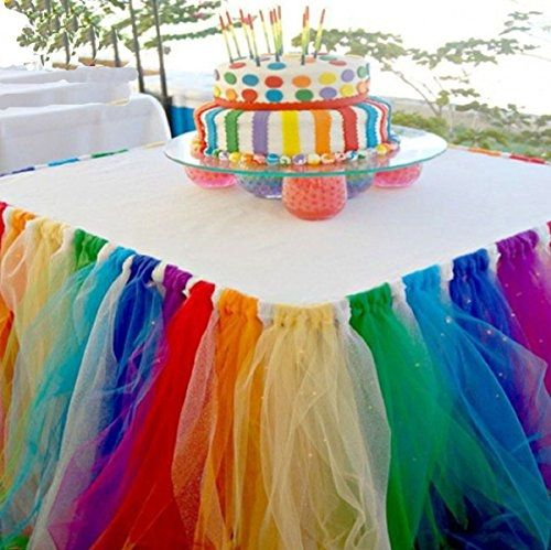 Preview Stuffwholesale Fitted Tulle Table Skirt Baby Shower Birthday Party Cake Table Decoration (Rainbow) by DinnerEquips