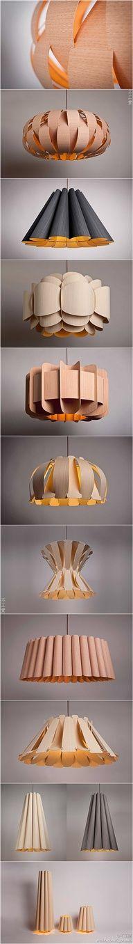 cardboard lamps or use wallpaper covered cardstock, even wood veneer strips.