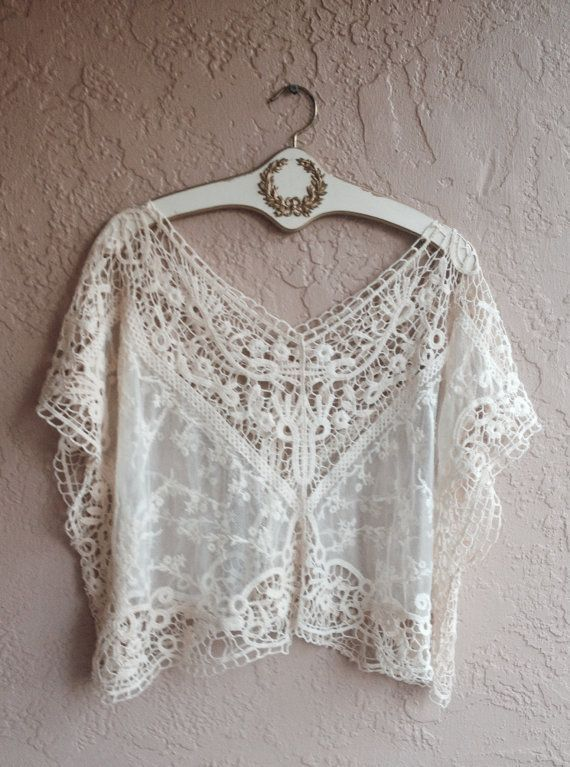 Lace and crochet bohemian crop top
