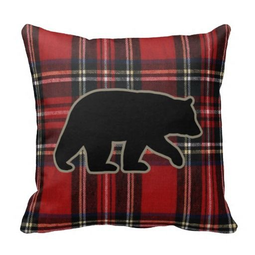 Red Plaid Carolers 18: Black Bear Silhouette On Red Plaid Throw Pillow