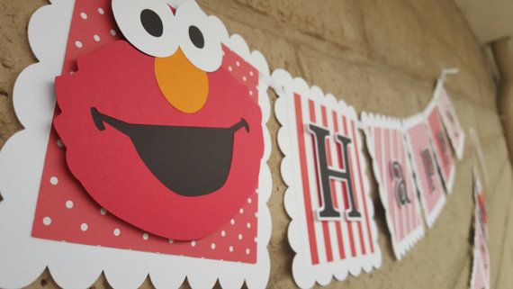 This 3-D banner is the perfect addition for your Elmo themed birthday party. This banner is 10feet long, flags are 5.5 inches tall and 5.5 inches wide. Childs name can be added for an additional fee of $7. I can also make matching cupcake toppers or center pieces.