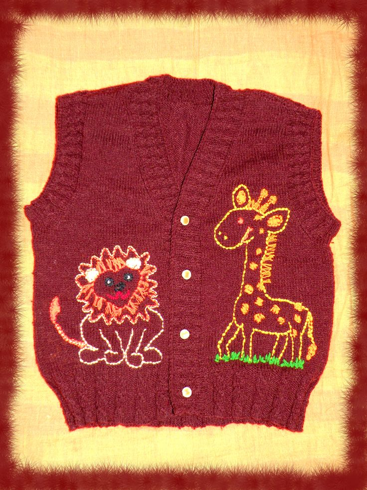 A knitted sleeveless sweater with embroidered animals