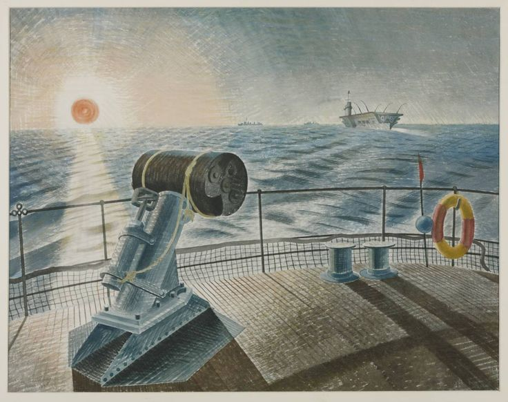 "'Midnight Sun' by Eric Ravilious, June 1940. Ravilious wrote: ""The seas in the Arctic Circle are the finest I have seen; cerulean and sometimes almost black."""