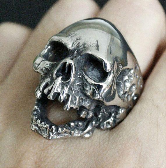 Mannen RVS Skull Ring Vintage skelet achtervolgd door darkzilver