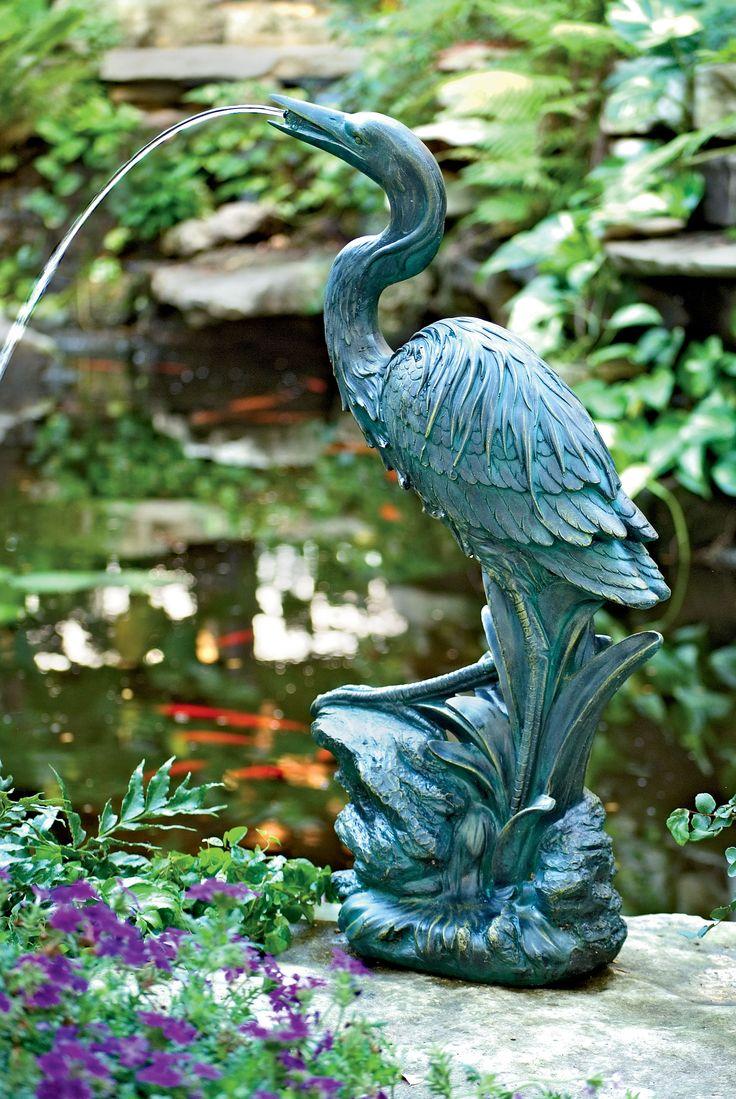 Blue Heron Garden Fountain   Buy From Gardeneru0027s Supply