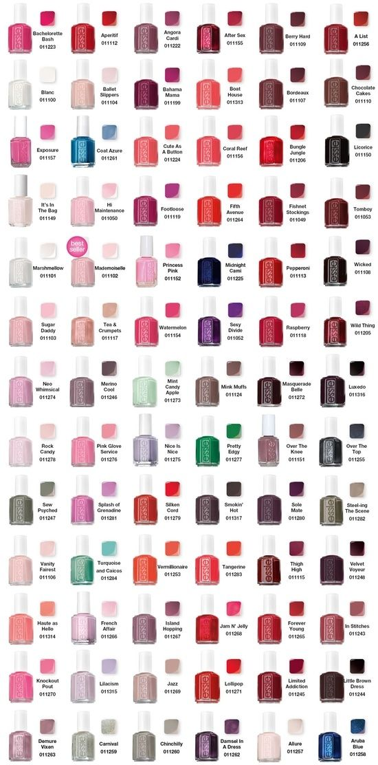 Essie Color Chart // heaven. Witch Color would you like to have a pedicure with? Beautiful color to match with SandbySaya Sandals and elegant and practical for walking around !
