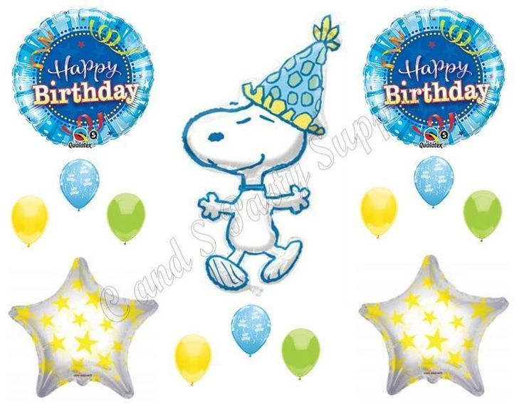 SNOOPY PEANUTS Happy Birthday Party Balloons Decoration Supplies Hat Stars #Anagram #1STbIRTHDAY