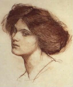 John William Waterhouse - Head of a Girl (Private Collection)  The Waterhouse Models who inspired his collections:  Alice Arter Ethel Bantock Harry Beresford Angelo Colarossi  Miss Kate Double Miss Muriel Foster Beatrice Hackman Miss Lloyd Agnes Richardson Edith Richardson