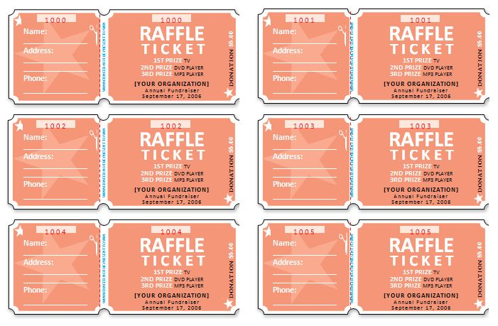 free raffle ticket templates for word