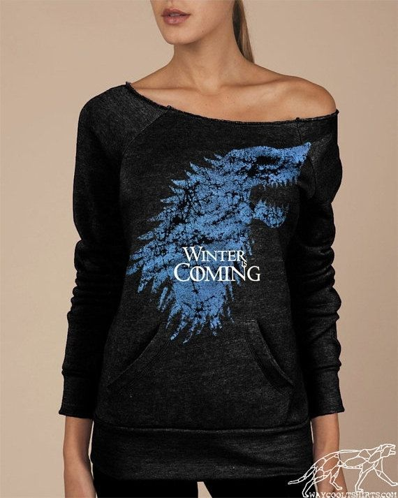 Winter Is Coming Game of Thrones Women's Soft Sexy Shirt Eco-Fleece Alternative Apparel Black Maniac Sweatshirt