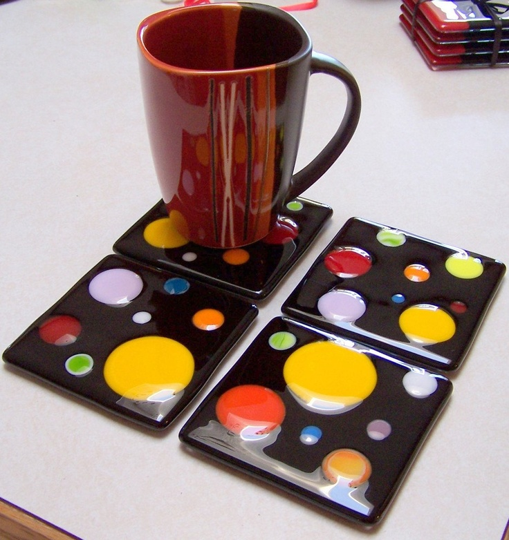 Fused Glass Bubbles polka dots Trivet Coaster Tile by shards57