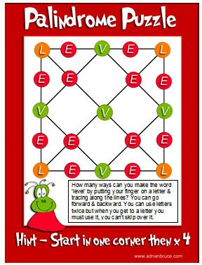 Worksheets Palindrome Riddles Worksheet 1000 images about brain teasers on pinterest problem solving what is a palindrome word or number which reads the same way forward as backward puzzle to reinforce this idea