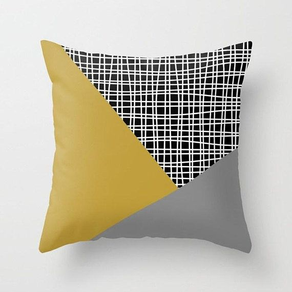 Mustard And Grey Throw Pillow Mix And Match Indoor Outdoor Grey Throw Pillows Throw Pillows Pillow Mixing