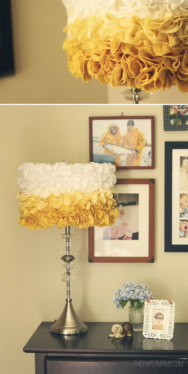 Ruffled Ombre Lamp Shade - oh my gosh, this is just awesome! I really love it in the different shades of yellow!