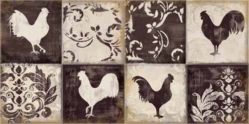 """Rooster Silhouette 1&2 facing""  Kitchen Backsplash Tile Mural  by Daphne B"