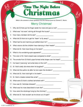 Night Before Christmas Quiz - printable Christmas game.