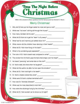 Night Before Christmas Quiz - printable Christmas game.
