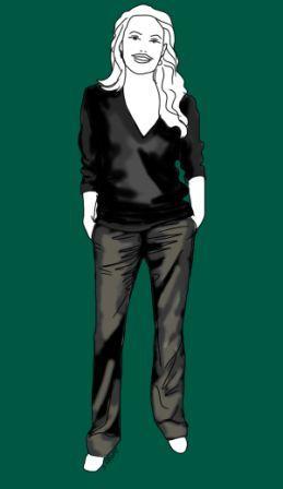 Bequem und edel wird das Outfit, wenn Sie einen schwarzen V-Pullover mit einer leicht glänzenden Hose kombinieren. Tipp: Wirkt puristisch am besten!