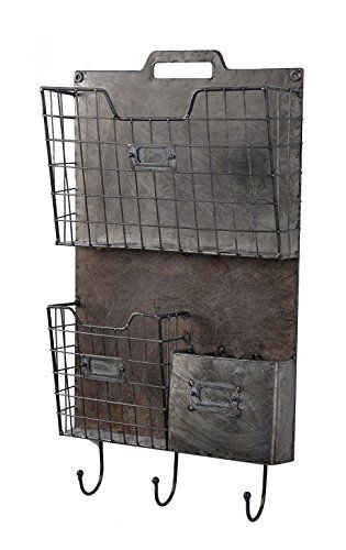 Rustic Metal Wall Organizer Mail Holder Key Leash Holder File Box