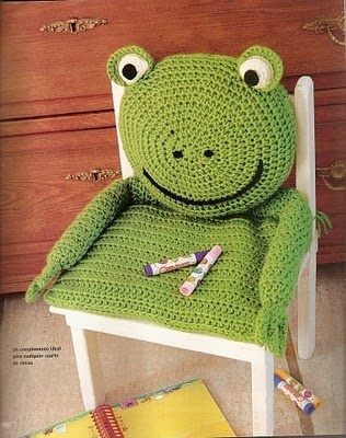 Crochet frog Chair cover