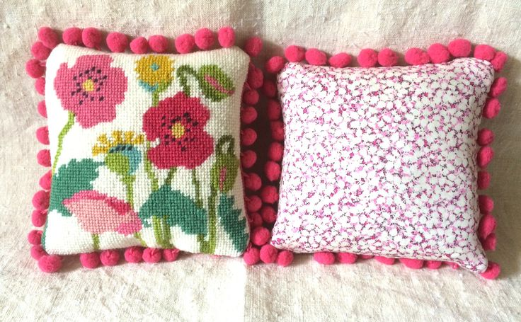 poppies mini cushion with Liberty print backing fabric at www.madinengland.com