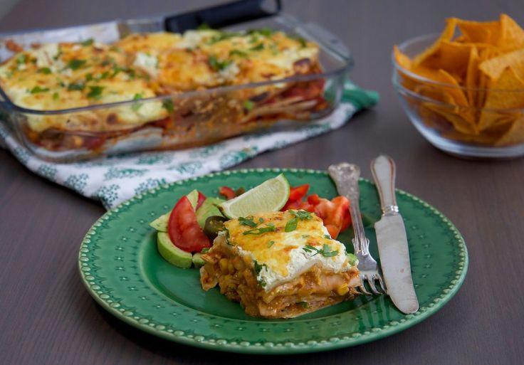 Enchiladasgratäng med kyckling eller quorn