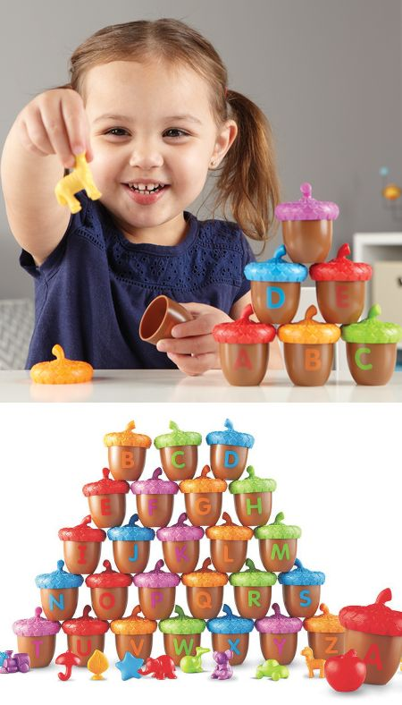 This Alphabet Acorn set helps kids play and learn! The acorn bottoms have uppercase letters on the outside, and the tops have lowercase letters on the inside. Kids can match the tops with the correct letter. Plus, the set comes with fun little objects to place into the correct acorn based on the letter they start with! Practice making words, learning ABCs, beginning sounds, and more.