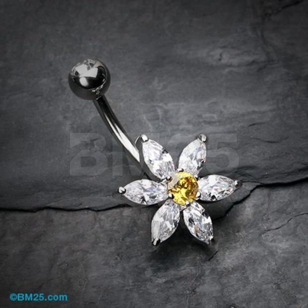 Glistening Flower Bliss Non Dangle Belly Button Ring $9.55