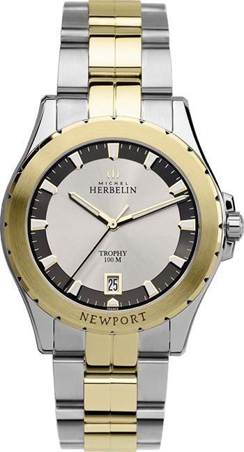Montre Michel Herbelin Newport Trophy 12270/BT22 Homme - Quartz - Analogique - Cadran et Bracelet en Acier inoxydable Or et Argent - Date