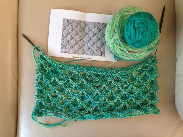 Diamond Honeycomb stitch scarf with tassels