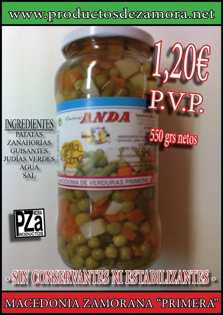 Macedonia de verduras zamoranas, de primera, en tarro de cristal. Para 2 personas.