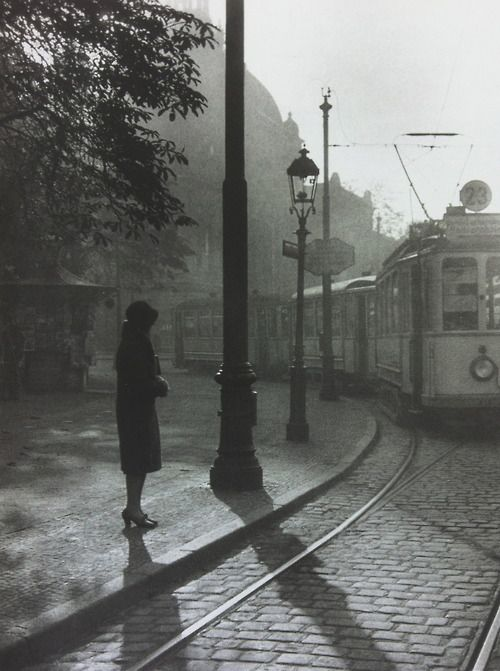 Lady and a tram