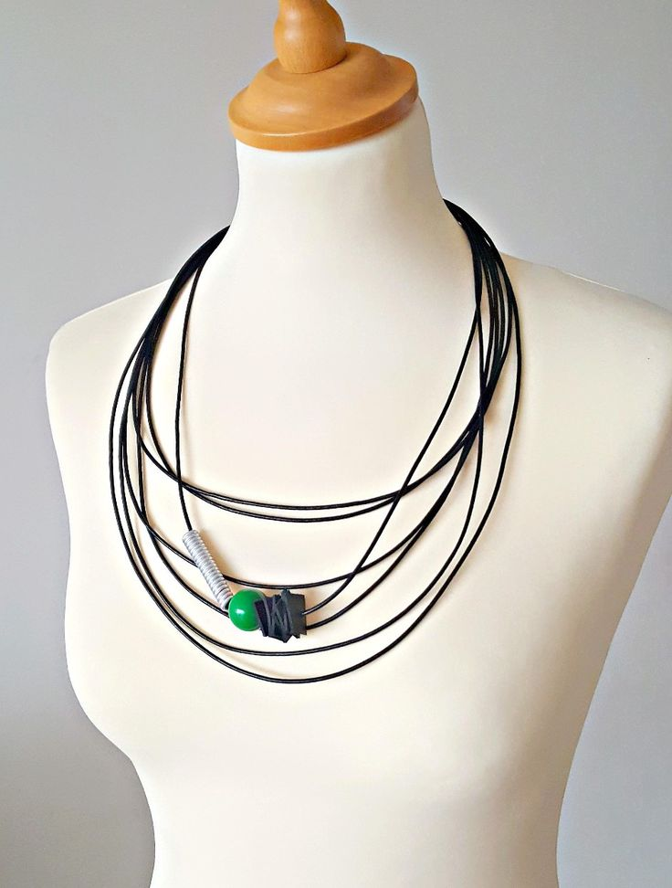 Excited to share the latest addition to my #etsy shop: Leather multi strand necklace Chunky statement necklace Modern necklace Leather jewelry Contemporary jewelry Black leather necklace http://etsy.me/2hClsxV
