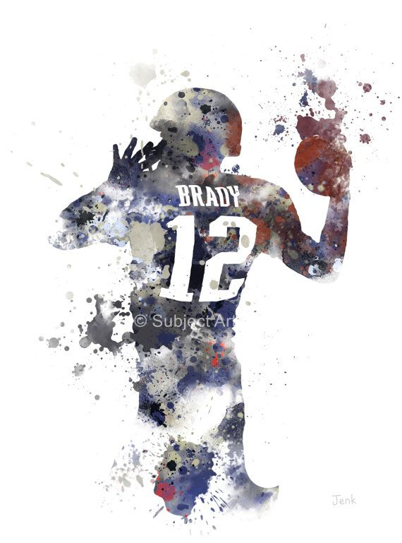Tom Brady ART PRINT illustration New England by SubjectArt on Etsy