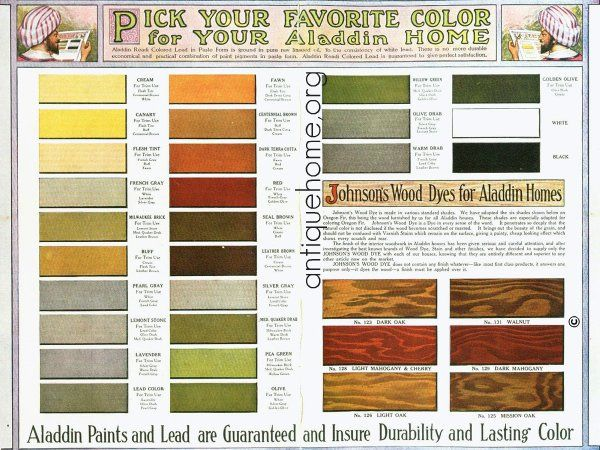 1916 Aladdin Bungalow Paints.    This original palette came in the 1916 catalog of kit house plans. Look at it in the large size to see the bungalow color suggestions. As you can see here, a craftsman bungalow should be at least 3 colors. Body, Trim, D