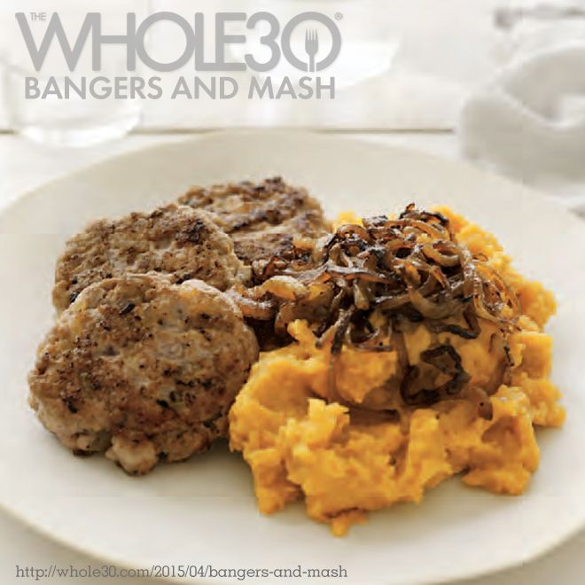 Recipe from the new Whole30 book! Bangers & Mash.