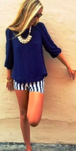Adorable Navy Blouse With Stripes Shorts   Fashionista Tribe  #TARTCollections