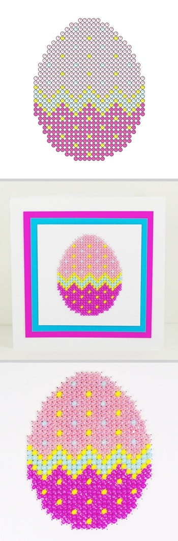 Free crafts to download and print Easter egg beading on card, counted beadwork and counted cross stitch patterns.