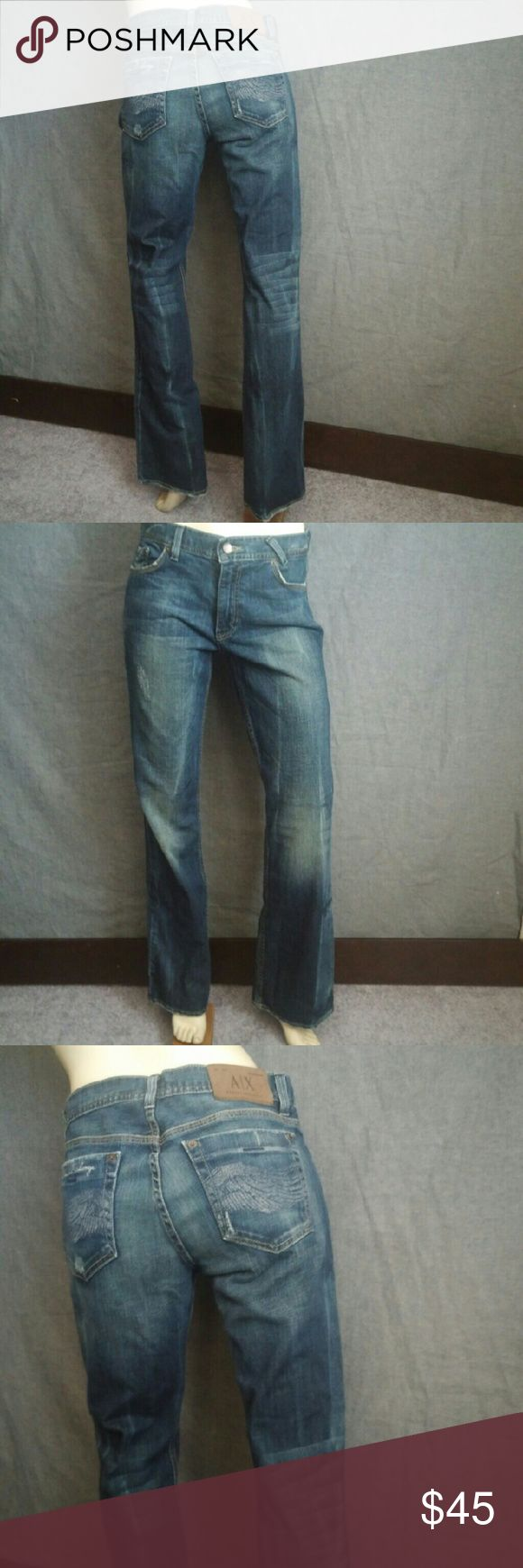 Armani Exchange Boot Cut Jeans Size 10 L33 Jeans are in pre-loved good condition with minimal wear on hems. The style nama is Distressed Potassium Streak.  Waist measures 32 inches, rise is 9 inches, hips are 40 inches and the inseam is 33 inches. Armani Exchange Jeans Boot Cut
