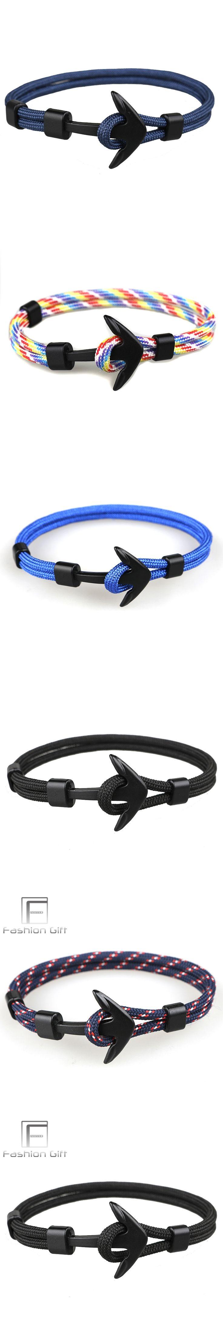 Navy Black Anchor Bracelets Camping Parachute Cord Survival Paracord Bracelet Handmade Jewelry