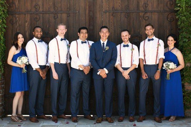 Groomsmen in suspenders and bowties | Laura & Steven The Villa San Juan Capistrano Wedding | Floral Occasions | Anika London Photography