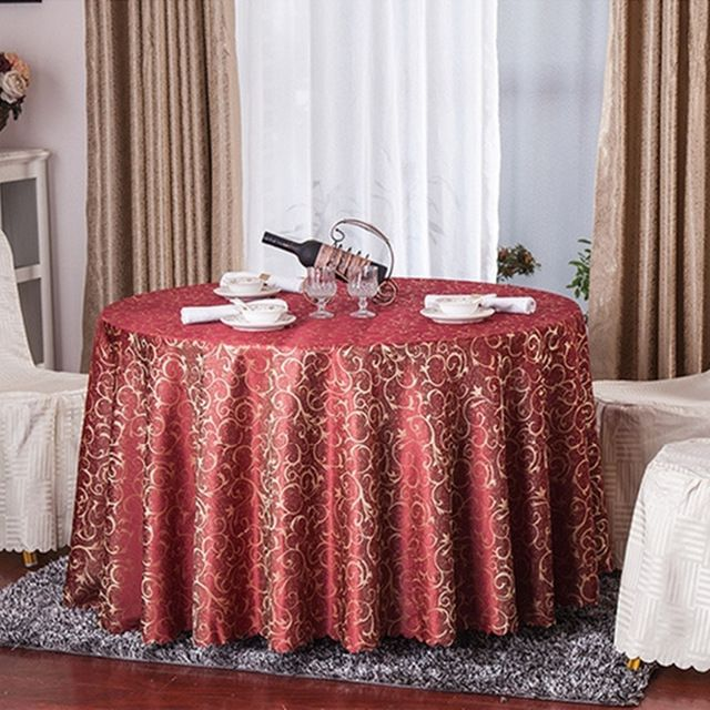 Tissu de Table de mariage ronde Polyester Partie Couvert De Table Nappe…