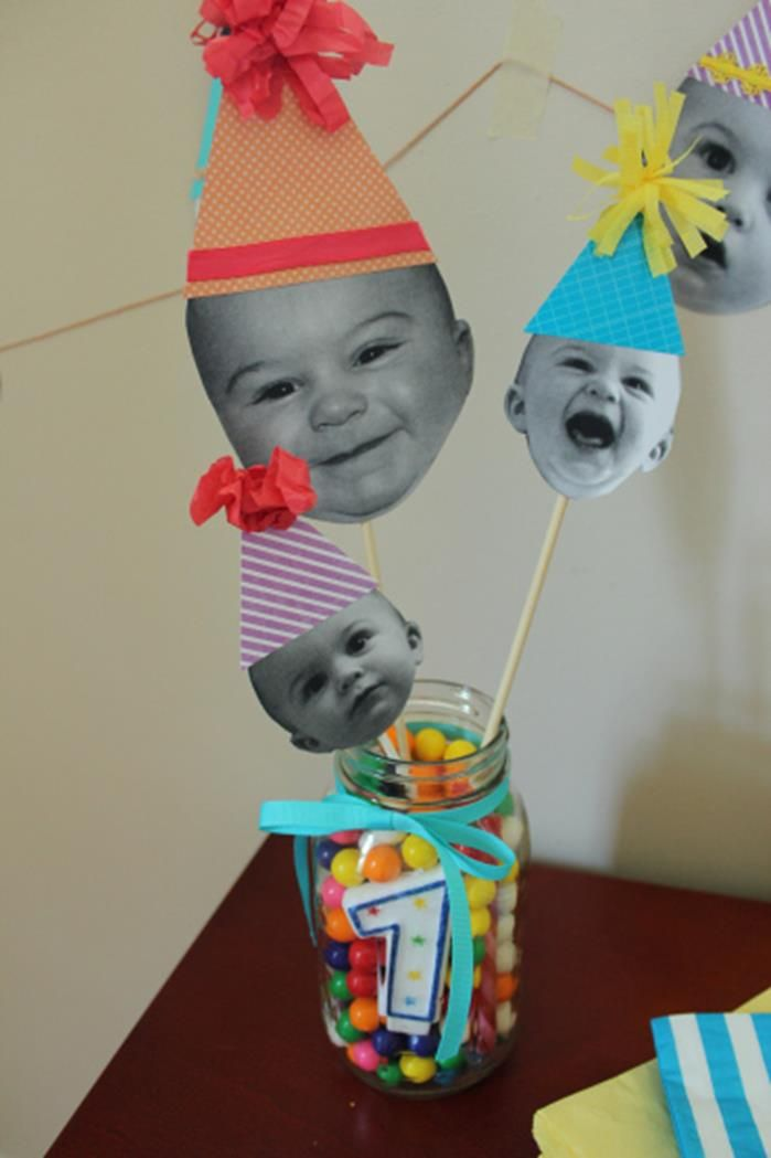 Darling DIY Birthday Decorations Using Photos Via Karau0027s Party Ideas |  Karau0027sPartyIdeas.com