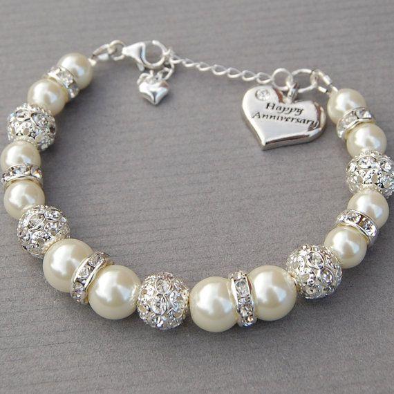 Happy Anniversary Charm Bracelet, Ivory Pearl Rhinestone Bracelet, Sparkling Bling Jewelry