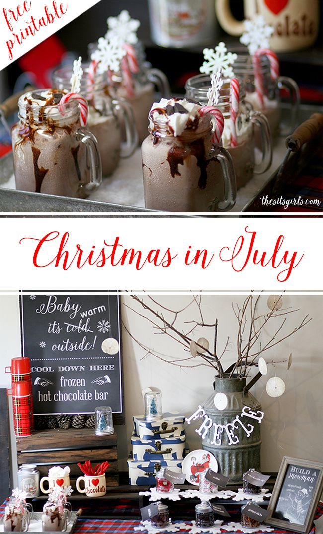 Christmas in July party ideas   From frozen hot chocolate to a build your own snowman activity, this is everything you need to throw the perfect Christmas party.