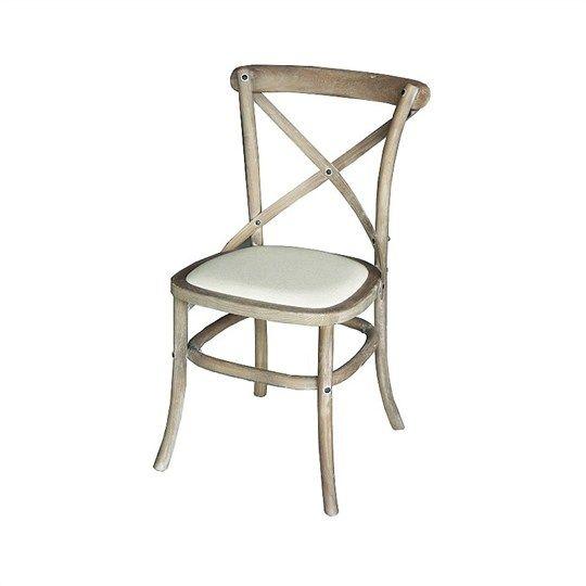 White Wash Cross Back Chair