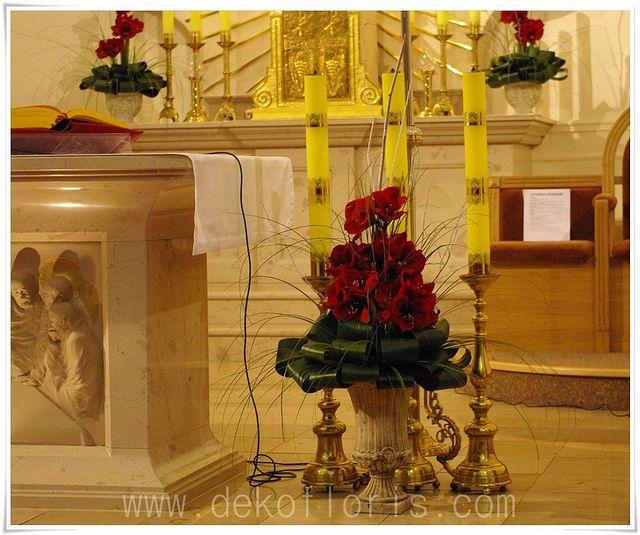 Amarylis czerwony - ślub dekoracja kościoła Dobrzeń Wielki