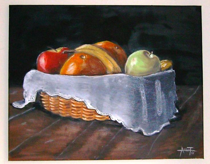 frutas en  canasto . oleo sobre lienso