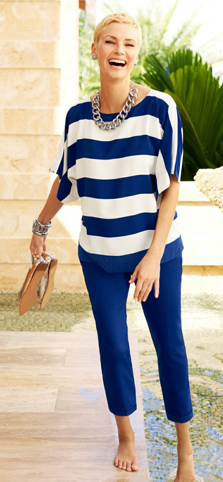 Bold Stripes Cana Top. #DestinationFabulous #travel #SoSlimming #spring #chicos