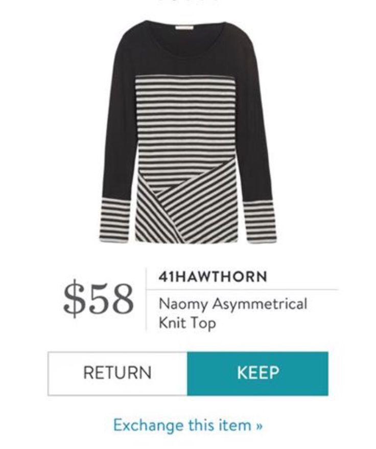 Received in fix 11. 41Hawthorn Naomy Asymmetrical Knit Top. I love the angles in the stripes. Even better if it is in red or cobalt, but black would be just fine!